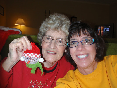 Mom and me on Xmas Eve at her house ready to open gifts