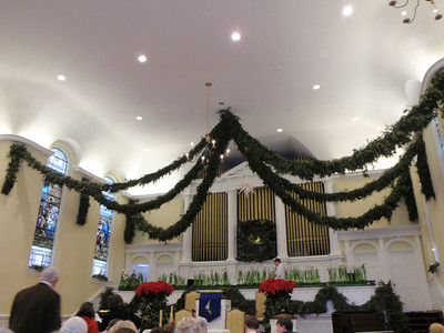Home Moravian Church sanctuary on Xmas Eve