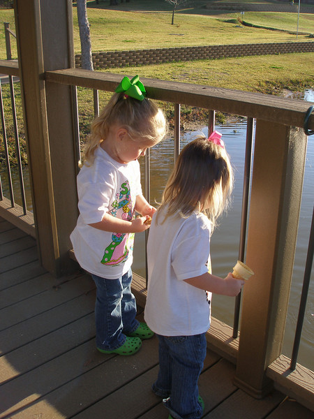 Camden and Claire went to stay at Mrs. Robin's house for a little while on Tuesday.  She took them to feed the fish at the lake.