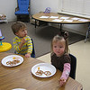 Claire and Zander at their Thanksgiving feast.  They had pretzels, cheese, turkey, fruit, cupcakes and juice boxes.  Yummy!