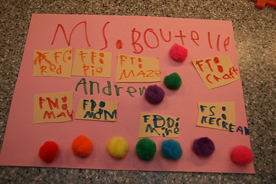 Andrew's poster for his kindergarten teacher.