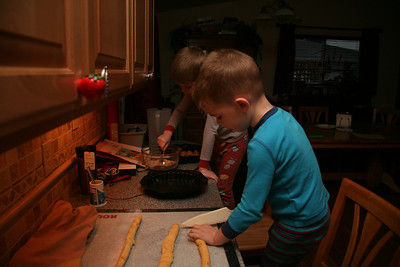 The boys were up early today helping mommy make monkey bread!