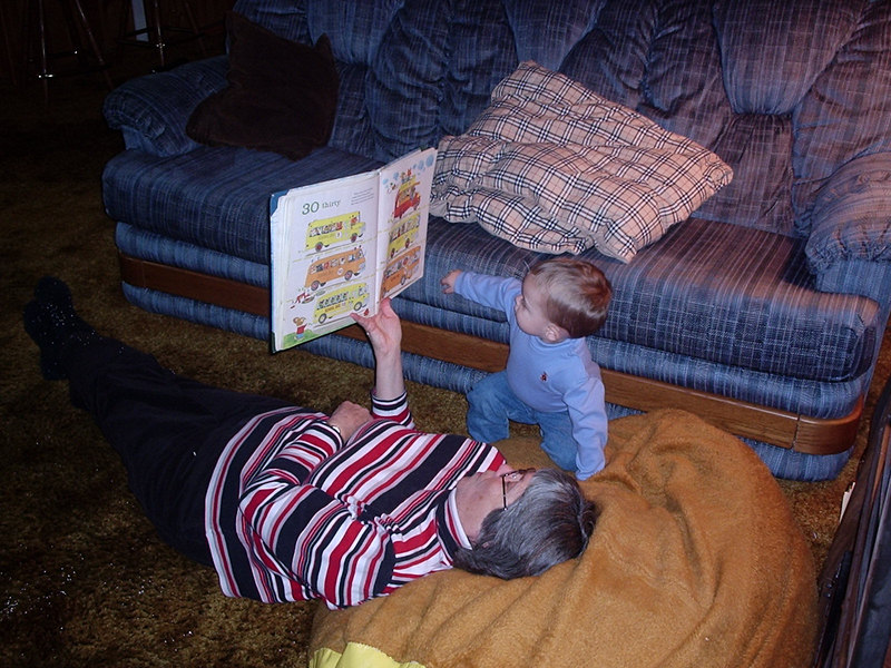 Settling down for a read on the bean bag his dad and uncle used to lay on.