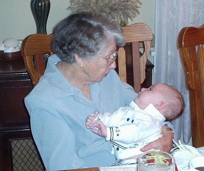 Great-grandmother Mohn meets Davis Gage Fulton. The primary reason for the trip to Alabama.