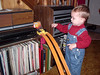 Hugh gets ready to push the button so the hot wheels will go down the tracks.  His dad and Uncle Duke played with these tracks and cars.