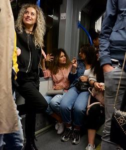 Night time tram ride in Amsterdam.
