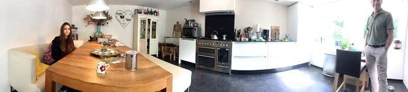 Kitchen of new house of Caz in Haarlem.