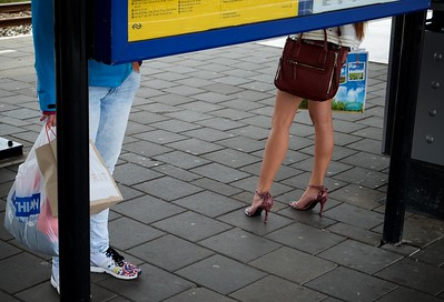 Elegant legs waiting for the train.
