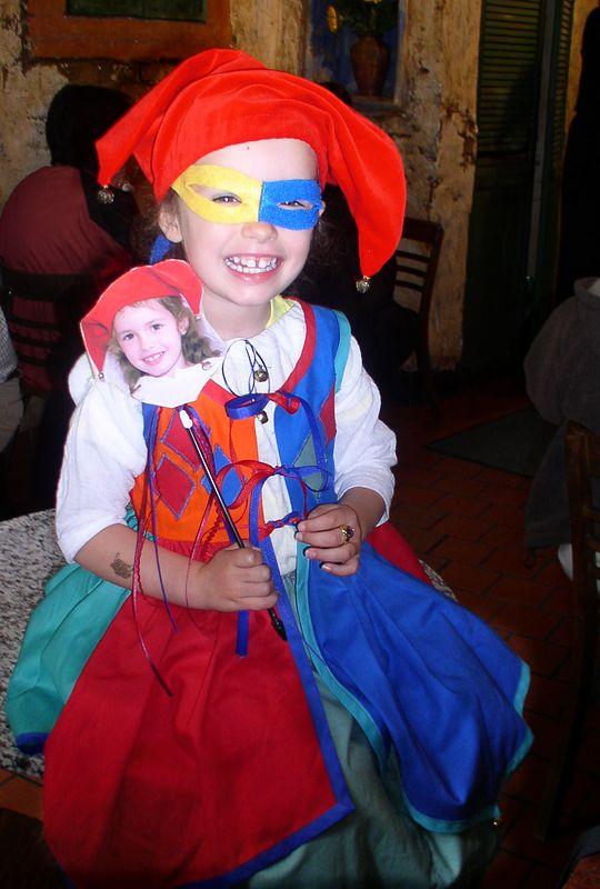 Sophia models teh Halloween costume Nana made for her