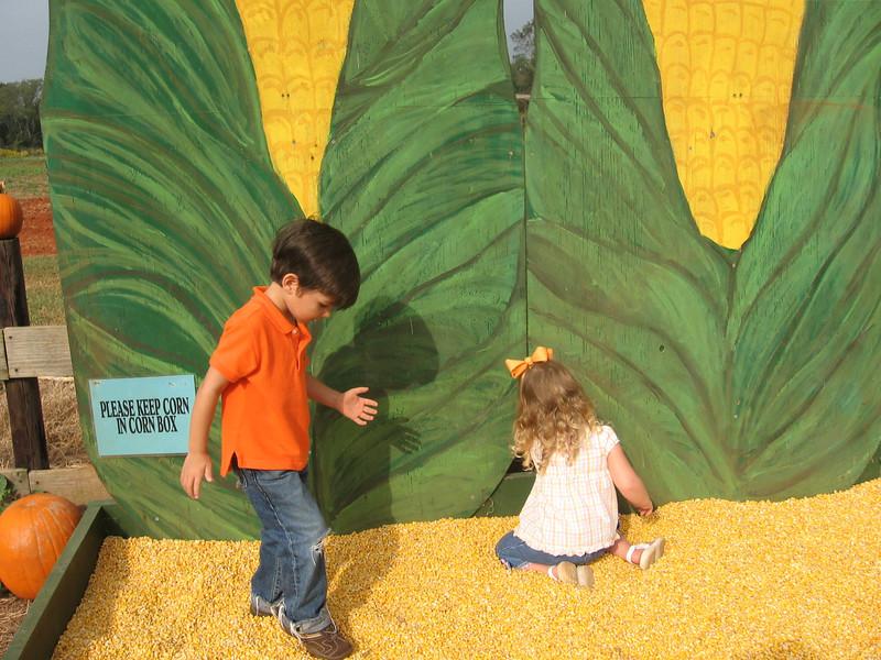 Preston and Camden in the corn box.