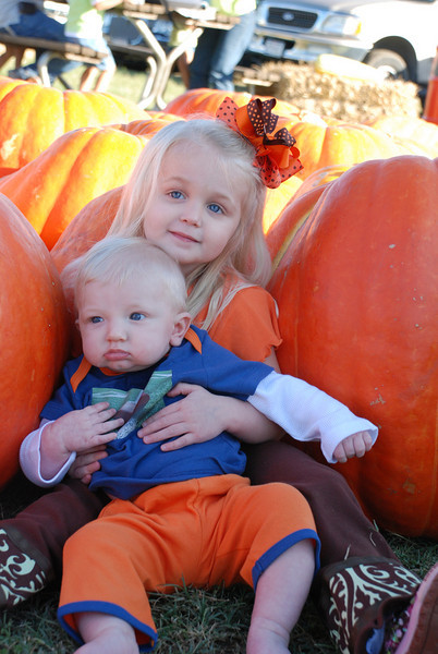 First of many to come brother/sister pictures at the pumpkin patch!