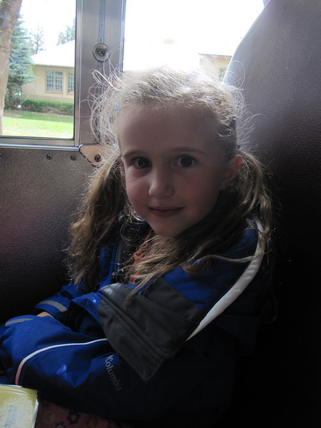 Norah's first ride on a school bus.  Kindergarten field trip to the Pumpkin Patch!