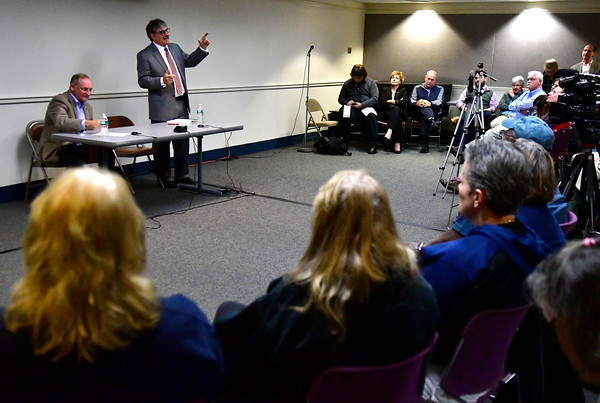 10/11/2016 Mike Orazzi   Staff State senator Henri Martin and state senate candidate Mike Nicastro during Tuesday evening's debate held at the Plainville Library.