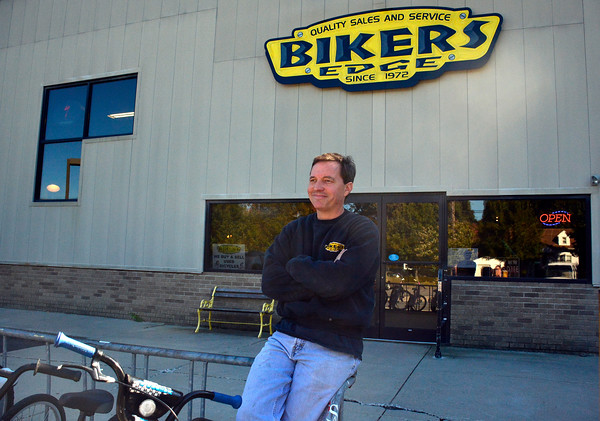10/11/2016 Mike Orazzi   Staff Bikers Edge's Bob Desmarais outside the Route 6 location that will be moving to Main Street in Bristol next month.