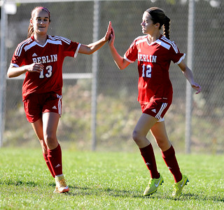 10/11/2016  Mike Orazzi | Staff Berlin's Taylor Edman (13) and Nicole Xiarhos (12)  during Tuesday's soccer match in Bristol.