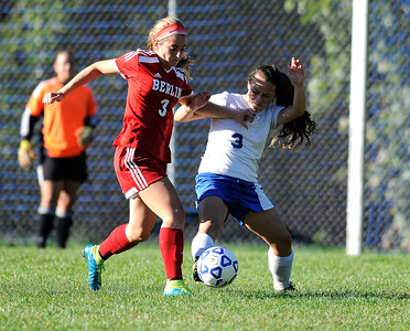 10/11/2016  Mike Orazzi | Staff Berlin's Julia Sisti (3) and Bristol Eastern's Jenny Soucy (3) during Tuesday's soccer match with in Bristol.