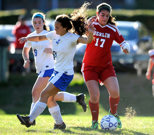 10/11/2016 Mike Orazzi   Staff Berlin's Danielle Skates (17) and Bristol Eastern's Jenny Soucy (3) during Tuesday's soccer match with in Bristol.