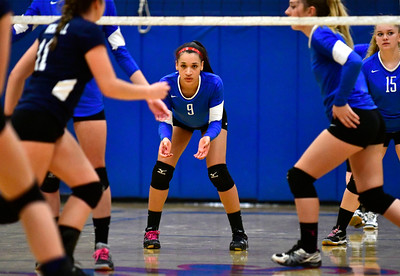 10/12/2016 Mike Orazzi | Staff Plainville's Aminah Tsonga (9)  at PHS Wednesday night.