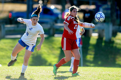 10/11/2016  Mike Orazzi | Staff Berlin's Danielle Skates (17) and Bristol Eastern's Myah Croze (9) during Tuesday's soccer match with in Bristol.