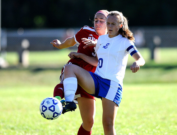 10/11/2016 Mike Orazzi   Staff Berlin's Julia Sisti (3) and Bristol Eastern's Emily Stadnicki (10) during Tuesday's soccer match in Bristol.