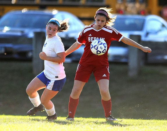 10/11/2016 Mike Orazzi   Staff Berlin's Amy Kuckel (6) and Bristol Eastern's Myah Croze (9) during Tuesday's soccer match with in Bristol.