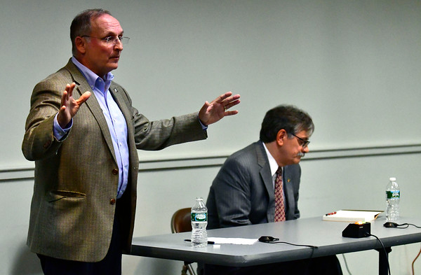 10/11/2016 Mike Orazzi   Staff State senator Henri Martin and candidate Mike Nicastro during Tuesday evening's debate held at the Plainville Library.