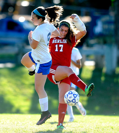 10/11/2016 Mike Orazzi   Staff Berlin's Danielle Skates (17) and Bristol Eastern's Myah Croze (9) during Tuesday's soccer match with in Bristol.