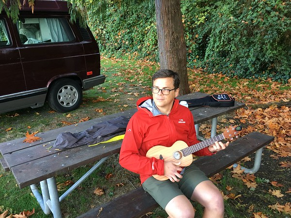 John goes to his happy place. With his ukelele