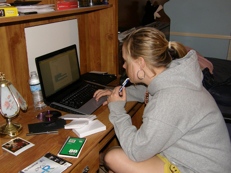 Katie studying.