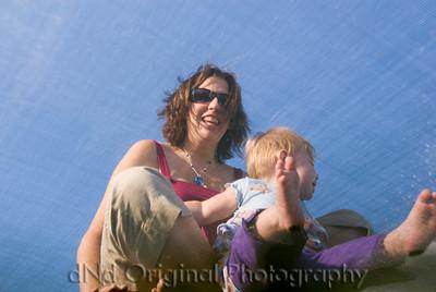 Nancy & Allie On Trampoline