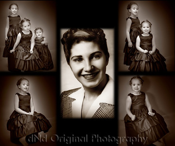 Went to a party for my granddaughters and they had their hair braded like an old picture of my mother, so I created this collage of grandaughters Emily, Lucy & Hailey and my mother. Prints nice at 24x20.