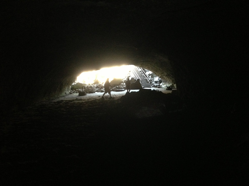 Leaving the lava tube tunnel, where it's always 46 degrees.