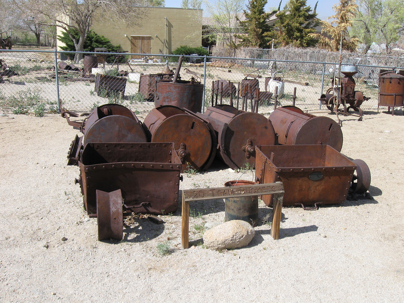 Cooper Ogden photo.  Tram buckets at the Eastern California Museum.  Used by the L.A. Department of Water and Power to rape and pillage the resources of the Owens Valley as it built the Los Angeles Aqueduct.