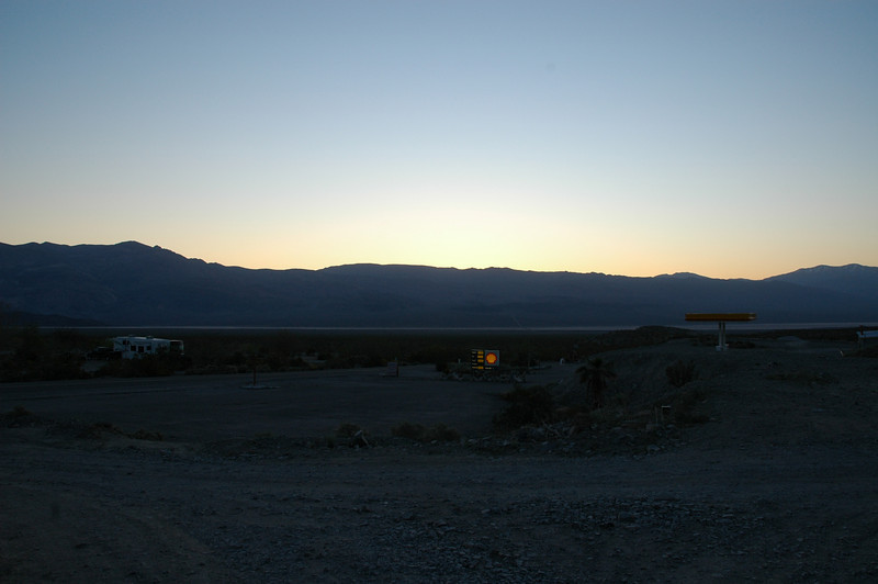 Dawn breaks at Panamint Springs resort, where we spent our first night in the desert.  Pretty basic accommodations.
