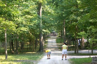 Amy and David enjoy the path at Joyce & Frank's Indiana camp ground.