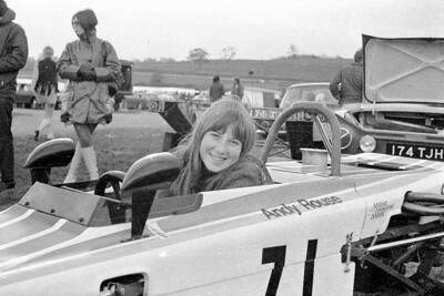 Wendy in Andy's car, my Lotus Cortina in the background