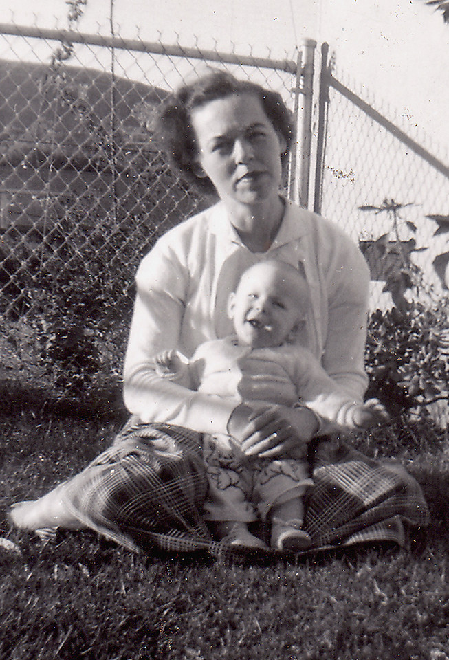 This is the photo of Eleanor holding baby Sharon with the shadow cropped out. Here I don't look like a Halloween Jack-O-Lantern.