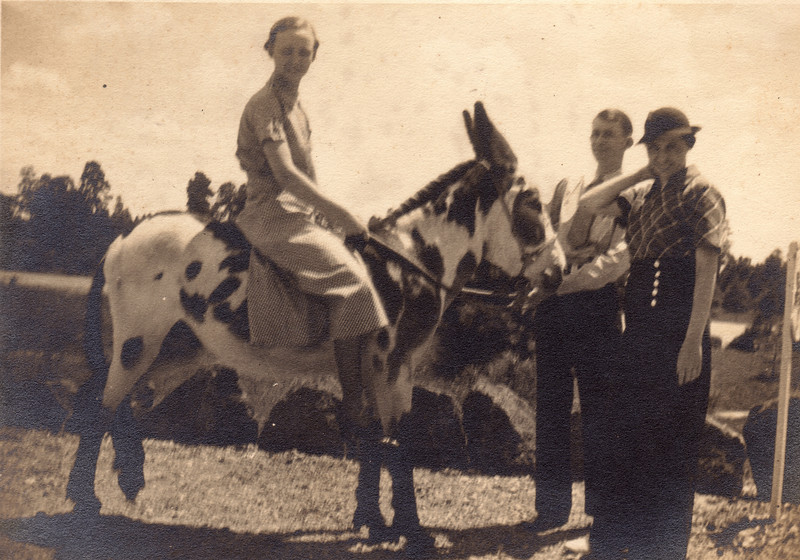 Virginia Carlisle on a mule during one of her many adventures