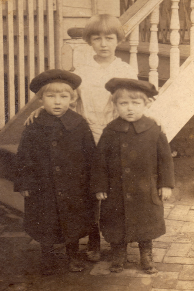 Francis (Frana) and Sanford Carlisle (twins) with Virginia Carlisle, ca. 1917