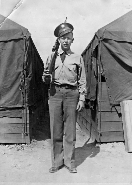 Forrest E Coker - 1942 military training at Camp Robinson, AR - 1942  Dad was 23 years old.