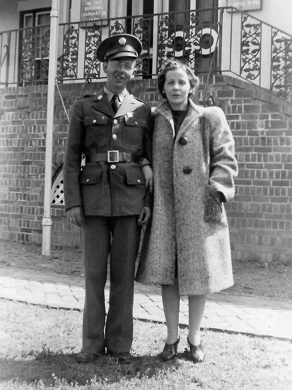 Apparently, Forrest's sister, Darlene Coker Davis came to see dad off to the war.  Little Rock, AR - 1942