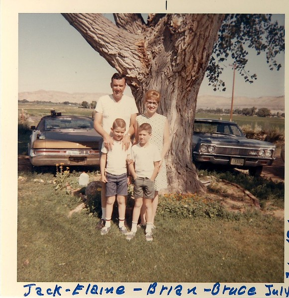 Taken at Vera Saban's home in Shell, WY before we started back to California from our Wyoming trip on July 31, 1969. Jack, Elaine, Brian and Bruce.