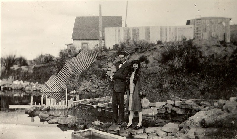 Ted and Jewel (Judy) Hill holding son Donald at McFadden, WY in 1930.
