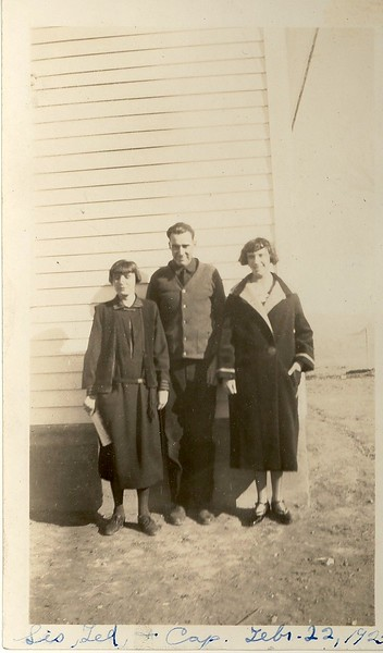 Sis (possibly Jewel's sister Mary?), Ted and Capitola Hill, February 22, 1925.