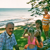 Stanley Shultis with Grace, Hannah, and Jonathan in Mackinaw City MI 1980's
