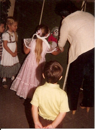 "Christmas 1981<br /> Jeannie's preschool<br /> ""Pin the tail on the monkey"""