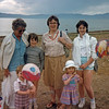 On the Lake Chapala beach in Ajijic: Jane, Jonathan, Hannah, Anala, Grace, and Jennifer Rodgers--1980's