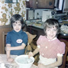 Shannon and Mike coloring easter eggs 1975