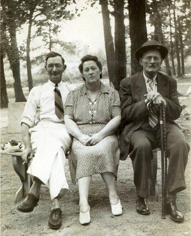 1940, about - Grandpa, & grandma Hample, plus Great Grandpa Weston.