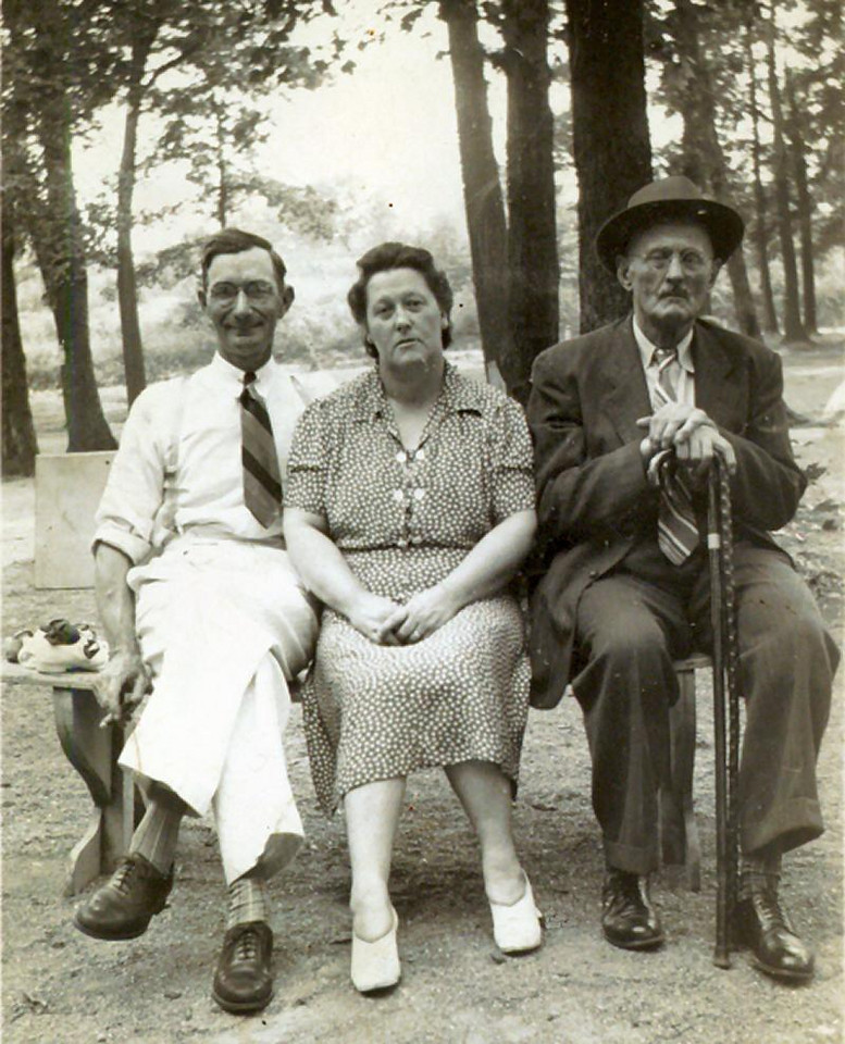 1940, about - Grandpa, & grandma Hample, plus Great Grandpa Weston.
